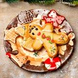 Postre y decoración de la Navidad Imágenes de archivo libres de regalías