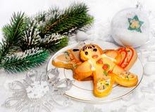 Postre y decoración de la Navidad Foto de archivo libre de regalías