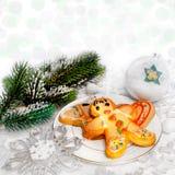 Postre y decoración de la Navidad Imagen de archivo