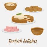 Postres comunes Placeres turcos Comida tradicional de la cocina turca stock de ilustración