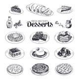 Postres dibujados mano del restaurante del bosquejo del vector fijados Imagenes de archivo