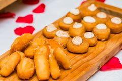 Postres fritos suavidad dulce para abastecer Imagenes de archivo
