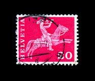 Postrider (19世纪),邮政历史动机和纪念碑s 免版税库存图片