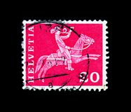 Postrider (19th century), Postal history motives and monuments s. MOSCOW, RUSSIA - NOVEMBER 26, 2017: A stamp printed in Switzerland shows Postrider (19th royalty free stock image