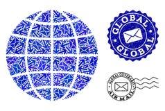 Postroutessamenstelling van van de Mozaïekbol en Nood Zegels royalty-vrije illustratie