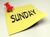 Posts amarillos con la representación de domingo 3D de la escritura Fotos de archivo