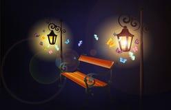 Posts antiguos de la lámpara con el banco y las mariposas Imágenes de archivo libres de regalías