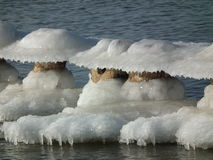 The posts breakwater, frozen, covered with ice cap. Winter Royalty Free Stock Photography