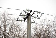 Posts de alto voltaje de la electricidad Fotografía de archivo libre de regalías