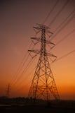 Posts de la electricidad por la mañana Fotografía de archivo