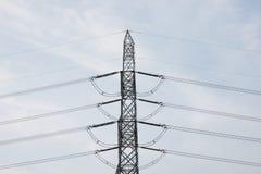 Posts de la electricidad por la tarde Fotos de archivo libres de regalías