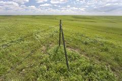 Posts de la esquina de la cerca, Flint Hills, Kansas Fotos de archivo libres de regalías