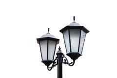 Posts de la lámpara de calle aislados en el fondo blanco Imagen de archivo libre de regalías
