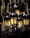Posts de la lámpara con un resplandor Foto de archivo libre de regalías