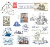 Posts de la nave de los sellos y de los matasellos foto de archivo libre de regalías