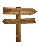 Posts de muestra de la flecha o poste indicador de madera del camino Foto de archivo libre de regalías