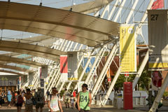 Posts of Decumano tensile membrane structure, EXPO 2015 Milan. MILAN, ITALY - August 05: EXPO 2015, a line of iron posts hold the  tensile membrane structure Stock Images