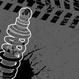 Posts del amortiguador de choque en un fondo oscuro Imagenes de archivo