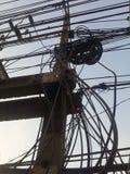 Posts desordenados de la electricidad Fotografía de archivo