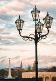Posts ligeros cuatro con la ciudad de Viena, Austria en fondo Fotografía de archivo