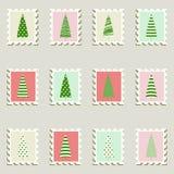 Poststämplar ställde in fir-trees. vektor illustrationer
