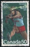 Poststamp. CANADA - CIRCA 1975: stamp printed by Canada, shows Hurdling, circa 1975 Royalty Free Stock Images