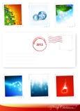 Poststamps del Año Nuevo y de la Navidad stock de ilustración