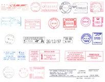 Poststempels van de wereld Stock Afbeelding
