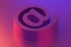 Postsymbool van contact ons e-mail in kleurrijke verlichting, het 3d teruggeven stock illustratie