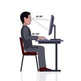Postura correcta de Infographics en la silueta del ordenador de un hombre en una tabla en un fondo blanco stock de ilustración