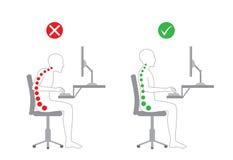 Postura correta no trabalho de assento Fotografia de Stock