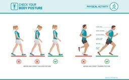 A postura de passeio e de corrida correta ilustração stock