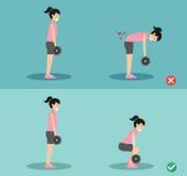 Postura errada e direita da mulher do deadlift, ilustração ilustração stock