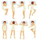 Posturas el dormir de la mujer, sueño femenino relajante en diversas actitudes en el dormitorio - sistema del vector