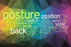 Posture concept word cloud  on a low poly background Royalty Free Stock Image
