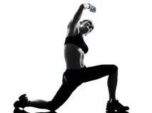 Posture de forme physique de séance d'entraînement de femme Image stock