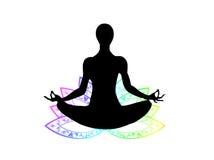 Posture de yoga avec le symbole de lotus Images stock