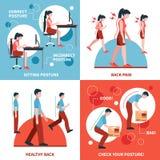 Posture 2x2 Design Concept Set Stock Images