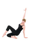 Posture of young dancer coach in black Stock Photography