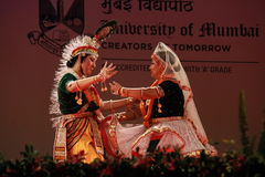 Postures of indian classical dances. Group of indian classical dancers perform a dance drama ballet Stock Photos