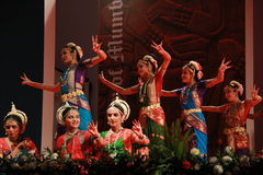 Postures of indian classical dances. Group of seven indian classical dance forms perform a joint presentation during 102 Indian Science Congress in Mumbai Stock Image
