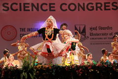 Postures of indian classical dances. Group of seven indian classical dance forms perform a joint presentation during 102 Indian Science Congress in Mumbai Stock Images