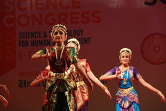 Postures of indian classical dances. Group of seven indian classical dance forms perform a joint presentation during 102 Indian Science Congress in Mumbai Royalty Free Stock Photos