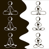 Postures for meditation icon set. Black - white set of different icons for meditation classes Royalty Free Stock Photos