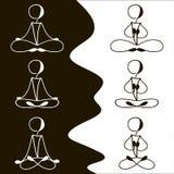 Postures for meditation icon set Royalty Free Stock Photos