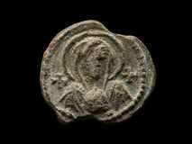 Postverbindingsaf oudheid met het beeld van heilige op het Stock Foto