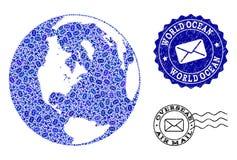 Postwegencollage van Moza?ekkaart van Globale Oceaan en Gekraste Zegels stock illustratie
