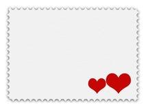 Postzegel met hart Stock Foto's