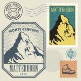 Postzegel met Matterhorn, berg wordt geplaatst van de Alpen die vector illustratie