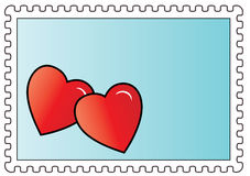 Postzegel met twee harten Royalty-vrije Stock Afbeelding